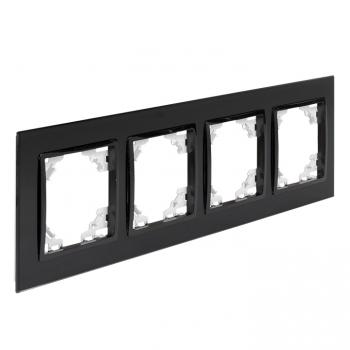 Минск Рамка 4-местная стеклянная черная EKF Basic