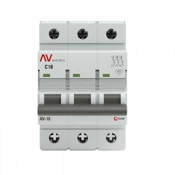 Выключатель автоматический AV-6 3P 16A (C) 6kA EKF AVERES