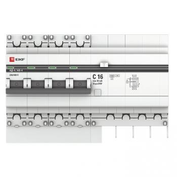 Дифференциальный автомат АД-4 16А/ 30мА (хар. C, AC, электронный, защита 270В) 4,5кА EKF PROxima