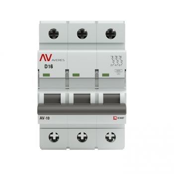 Выключатель автоматический AV-6 3P 16A (D) 6kA EKF AVERES