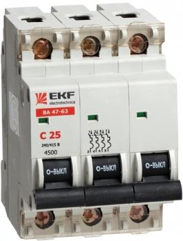 Автоматический выключатель ВА 47-63, 3P 6А (В) 4,5kA EKF