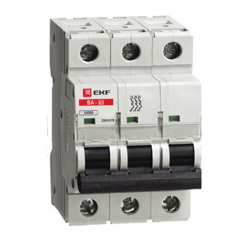 Автоматический выключатель ВА-63, 3P 1А (C) 10kA EKF