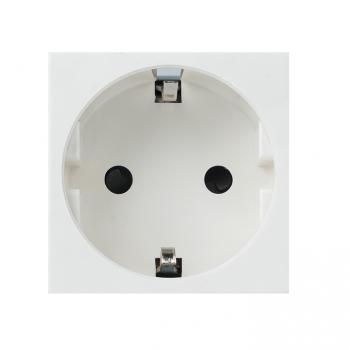 Розетка 45х45 (2 модуля), с заземлением. белая, прямая