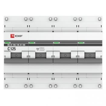 Автоматический выключатель 4P 50А (D) 10kA ВА 47-100 EKF PROxima