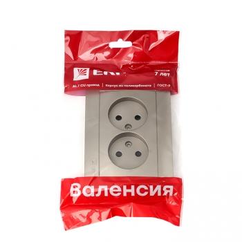 Валенсия лицевая панель розетка 2-местной б/з 10А кашемир с защ. штор. EKF PROxima
