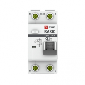 Дифференциальный автомат 1P+N 63А 30мА тип АС х-ка C эл. 4,5кА АД-12 EKF Basic