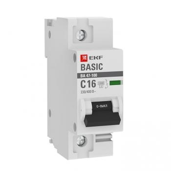 Автоматический выключатель 1P  16А (C) 10kA ВА 47-100 EKF Basic