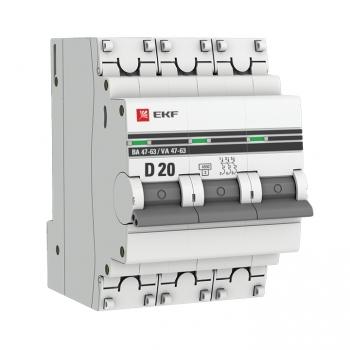 Автоматический выключатель 3P 20А (D) 4,5kA ВА 47-63 EKF PROxima