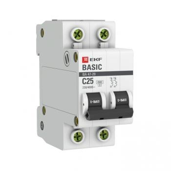 Автоматический выключатель 2P 25А (C) 4,5кА ВА 47-29 EKF Basic