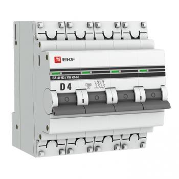 Автоматический выключатель 4P  4А (D) 4,5kA ВА 47-63 EKF PROxima
