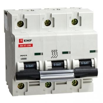 Автоматический выключатель ВА 47-100, 3P 10А (C) 10kA EKF