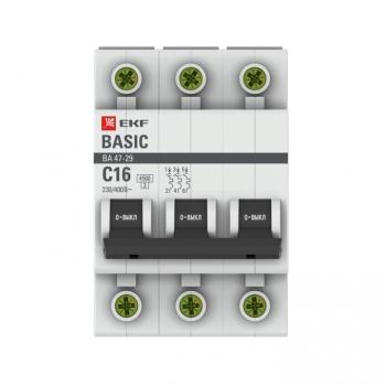 Автоматический выключатель 3P 16А (C) 4,5кА ВА 47-29 EKF Basic