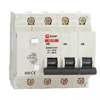 Дифференциальный автомат АД-32 4P 50А/100мА (характеристика C, тип AC) 4,5кА EKF