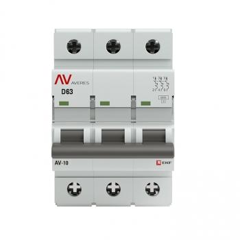 Выключатель автоматический AV-6 3P 63A (D) 6kA EKF AVERES