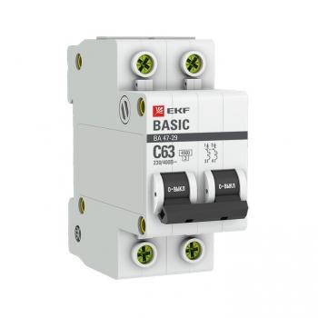 Автоматический выключатель 2P  6А (C) 4,5кА ВА 47-29 EKF Basic