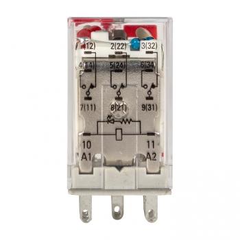Реле промежуточное с кнопкой и мех. Индикацией RPAt 22/3 10A 230В AC EKF AVERES