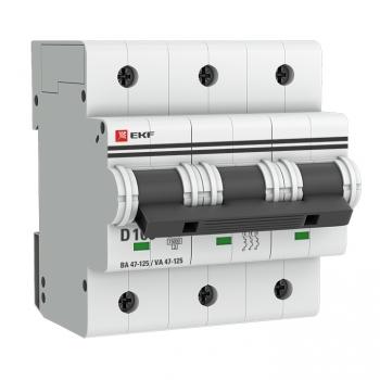 Автоматический выключатель 3P 100А (D) 15кА ВА 47-125 EKF PROxima