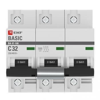 Автоматический выключатель 3P  32А (C) 10kA ВА 47-100 EKF Basic