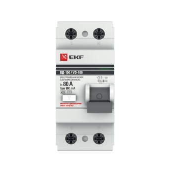 Устройство защитного отключения УЗО ВД-100 2P  80А/100мА (электромеханическое) EKF PROxima
