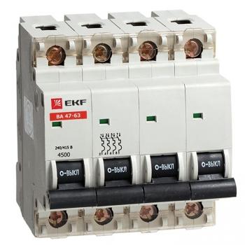 Автоматический выключатель ВА 47-63, 4P 10А (C) 4,5kA EKF