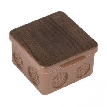 Коробка распаячная КМР-030-034 пылевлагозащищенная без мембранных вводов (109х109х55) тёмное дерево EKF PROxima
