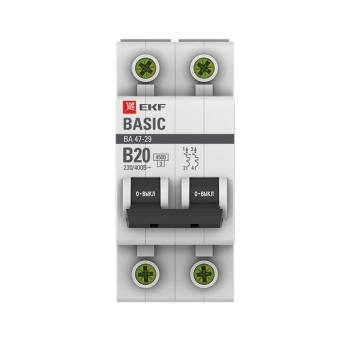 Автоматический выключатель 2P 20А (B) 4,5кА ВА 47-29 EKF Basic