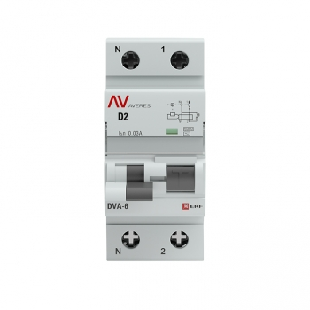 Дифференциальный автомат DVA-6 1P+N  2А (D)  30мА (AC) 6кА EKF AVERES