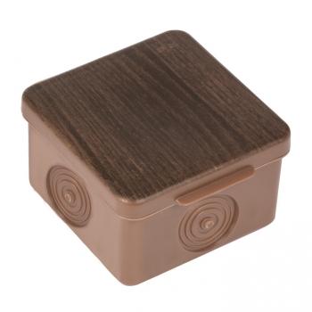 Коробка распаячная КМР-030-037 пылевлагозащищенная без мембранных вводов (73х73х49) тёмное дерево EKF PROxima