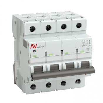 Выключатель автоматический AV-10 4P  2A (C) 10kA EKF AVERES