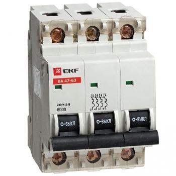 Автоматический выключатель ВА 47-63 6кА, 3P 20А (C) EKF