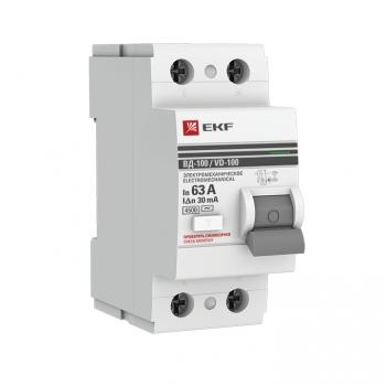 Устройство защитного отключения УЗО ВД-100 2P  63А/ 30мА (электромеханическое) EKF PROxima