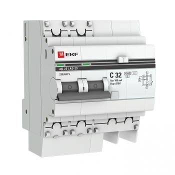 Дифференциальный автомат АД-2 S 32А/100мА (хар. C, AC, электронный, защита 270В) 4,5кА EKF PROxima
