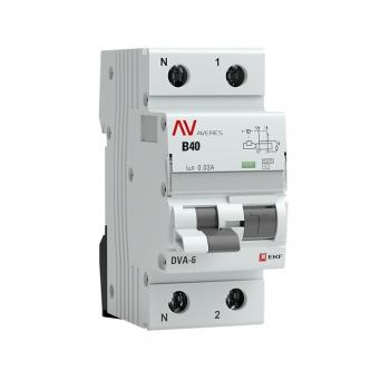 Дифференциальный автомат DVA-6 1P+N 40А (C)  30мА (AC) 6кА EKF AVERES