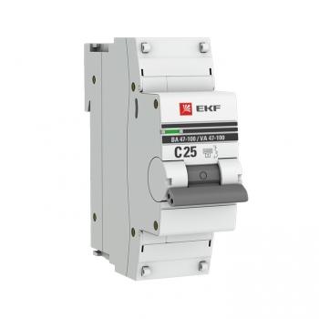 Автоматический выключатель 1P  25А (C) 10kA ВА 47-100 EKF PROxima