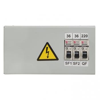 Ящик с понижающим трансформатором ЯТП 0,25кВА 220/36В (3 автомата) EKF Basic