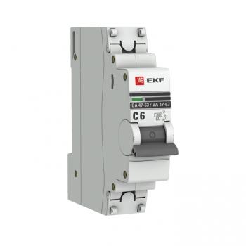 Автоматический выключатель 1P  6А (C) 4,5kA ВА 47-63 EKF PROxima