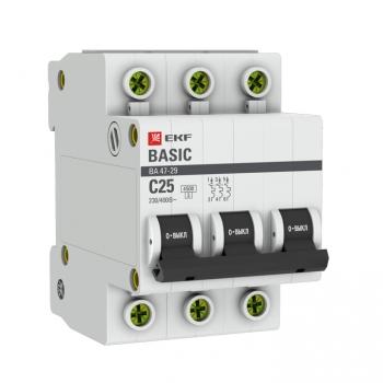 Автоматический выключатель 3P 25А (C) 4,5кА ВА 47-29 EKF Basic