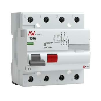 Устройство защитного отключения DV 4P 100А/300мА (A) EKF AVERES