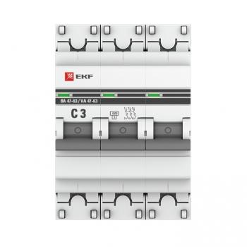 Автоматический выключатель 3P  3А (C) 4,5kA ВА 47-63 EKF PROxima