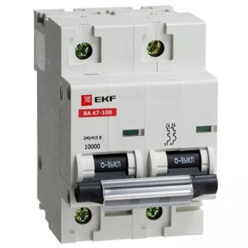 Автоматический выключатель ВА 47-100, 2P 16А (D) 10kA EKF