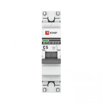 Автоматический выключатель 1P  5А (C) 4,5kA ВА 47-63 EKF PROxima