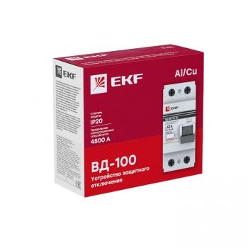 Устройство защитного отключения УЗО ВД-100 2P 100А/ 30мА (электромеханическое) EKF PROxima