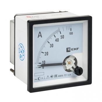Амперметр AMA-721 аналоговый на панель (72х72) квадратный вырез 50А прямое подкл. EKF