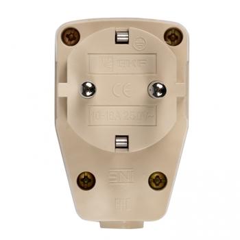 Вилка угловая с выключателем с/з бежевая 16А 250В EKF