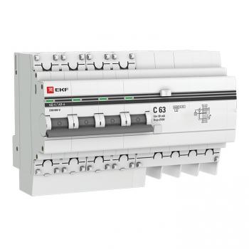 Дифференциальный автомат АД-4 63А/ 30мА (хар. C, AC, электронный, защита 270В) 4,5кА EKF PROxima