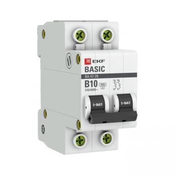 Автоматический выключатель 2P 10А (B) 4,5кА ВА 47-29 EKF Basic