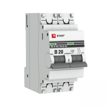 Автоматический выключатель 2P 20А (В) 4,5kA ВА 47-63 EKF PROxima