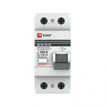 Устройство защитного отключения селективное 2P 100А/100мА (электромеханическое) EKF PROxima
