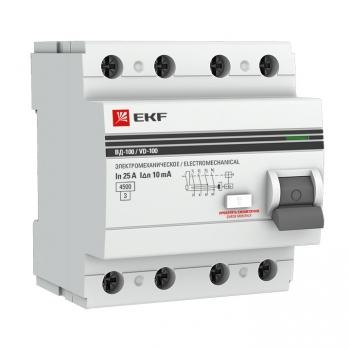 Устройство Защитного Отключения ВД-100 4P 63А/100мА (электр, тип А) EKF PROxima