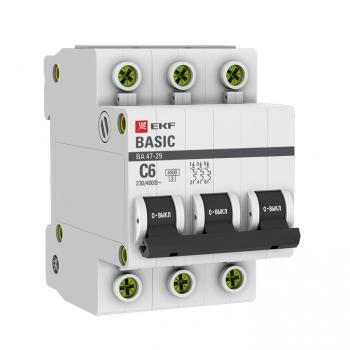 Автоматический выключатель 3P  6А (C) 4,5кА ВА 47-29 EKF Basic